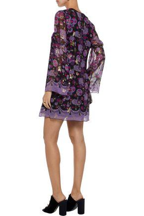 ANNA SUI Metallic printed silk-blend fil coupé mini dress
