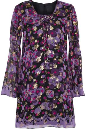 ANNA SUI Metallic printed silk-blend fil coupé mini dress