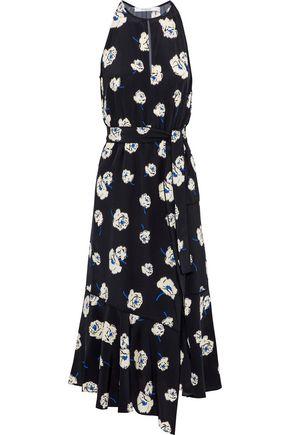 DEREK LAM 10 CROSBY Wrap-effect cutout floral-print silk midi dress