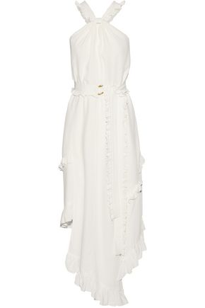 DEREK LAM 10 CROSBY Asymmetric ruffle-trimmed silk-blend midi dress