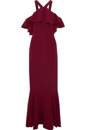 RACHEL ZOE Baxter cold-shoulder ruffled crepe maxi dress