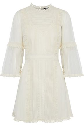 LOVE SAM Sada paneled lace and tulle mini dress