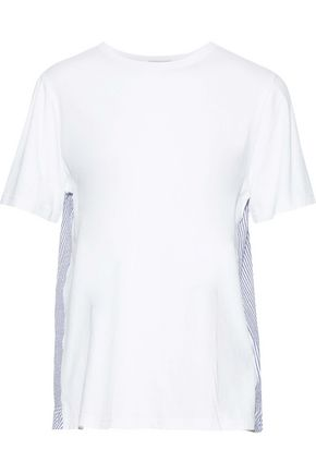 CLU Ruffled seersucker-paneled cotton-jersey T-shirt
