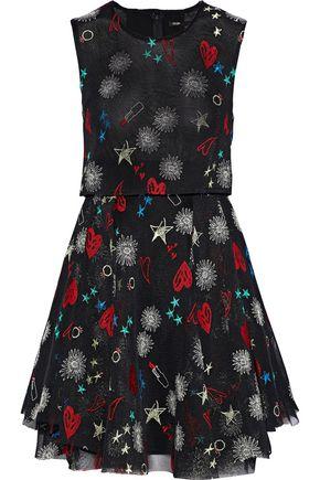 MAJE Rachel pleated embroidered tulle mini dress