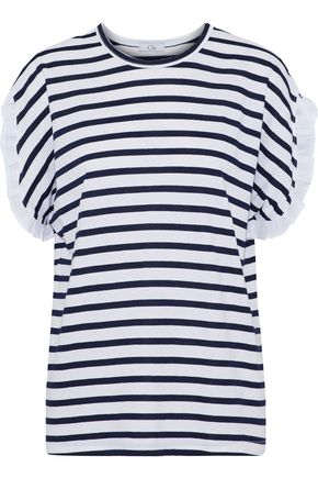 CLU Poplin-trimmed striped cotton-jersey T-shirt