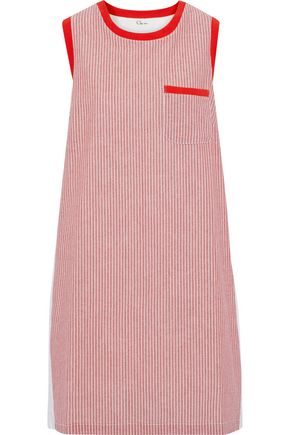 CLU Ruffled poplin-paneled striped cotton-jersey dress