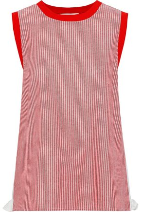 CLU Ruffled poplin-paneled striped cotton-jersey tank