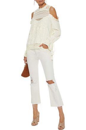 f26f40a17d880 ... LOVE SAM Shang Hai cold-shoulder crochet-paneled embroidered gauze  blouse ...