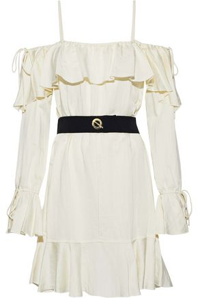 DEREK LAM 10 CROSBY Cold-shoulder belted ruffled sateen dress