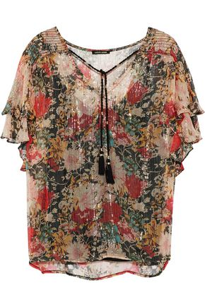 LOVE SAM Casella floral-print metallic georgette blouse