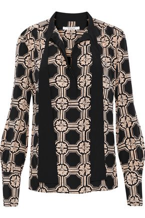 DEREK LAM 10 CROSBY Pussy-bow printed silk blouse