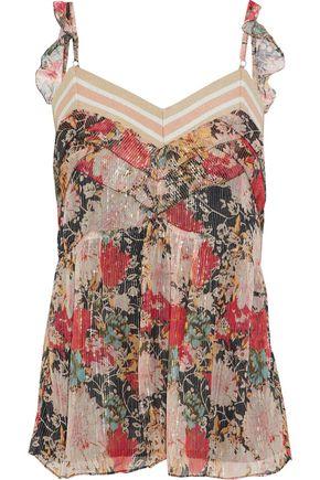 LOVE SAM Ruffle-trimmed floral-print metallic georgette camisole