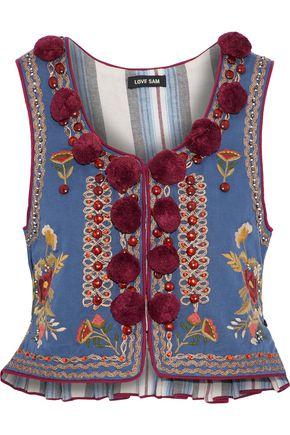 LOVE SAM Woman Embellished Cotton-Faille Vest Azure