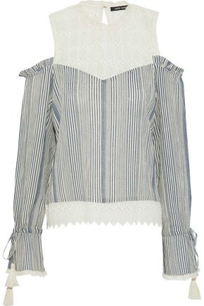 LOVE SAM Okan cold-shoulder crochet-paneled striped cotton-gauze blouse