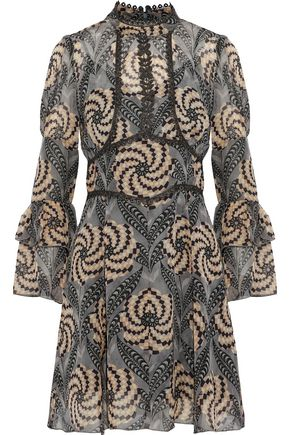 ANNA SUI Metallic crochet-trimmed printed chiffon mini dress