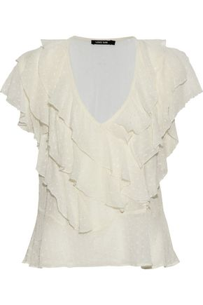LOVE SAM Ruffled fil coupé georgette top