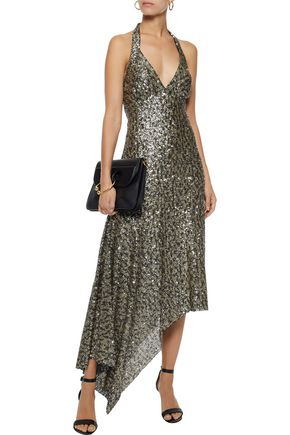 ANNA SUI Asymmetric sequined tulle halterneck midi dress