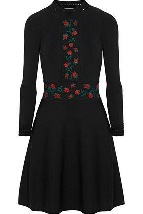 SANDRO Giorgia embroidered stretch-knit dress