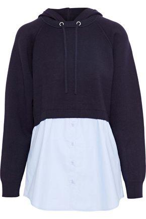 SANDRO Horia poplin-paneled stretch-knit hoodie