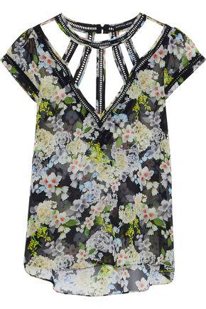 MARISSA WEBB Lori cutout floral-print silk-chiffon blouse