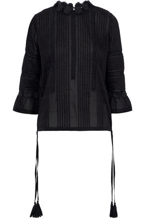 LOVE SAM Crochet-trimmed pintucked cotton-poplin blouse