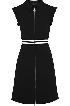 MAJE Rundi ruffle-trimmed striped crepe dress