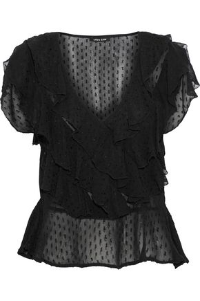 LOVE SAM Ruffled fil coupé voile blouse