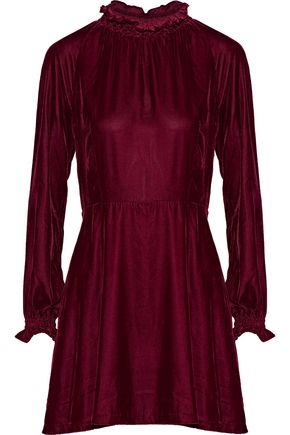 MAJE Rilea velvet mini dress