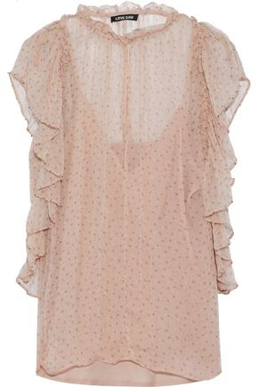 LOVE SAM Sonia ruffle-trimmed printed georgette blouse