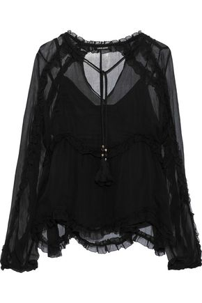 LOVE SAM Kasia ruffle-trimmed georgette blouse