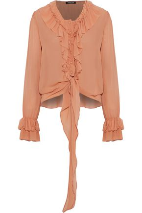 LOVE SAM Ruffle-trimmed chiffon blouse