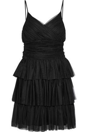 MAJE Richard tiered tulle mini dress