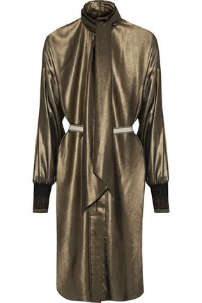 BY MALENE BIRGER Micah pussy-bow metallic chiffon dress