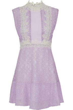 SANDRO Peaches pintucked crepe-paneled cotton-blend corded lace mini dress