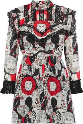 ANNA SUI Lace-trimmed printed cotton mini dress