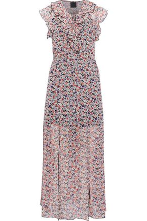 ANNA SUI Ruffled floral-print georgette midi dress