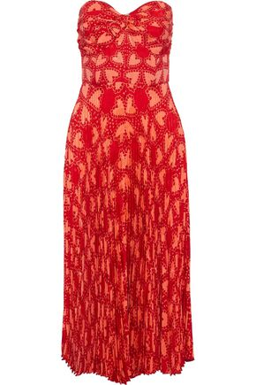 ANNA SUI Strapless pleated printed silk-blend jacquard midi dress