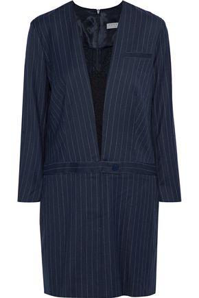 SANDRO Enola lace-paneled pinstriped wool-blend twill mini dress