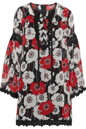 ANNA SUI Lace-up guipure lace-trimmed floral-print chiffon dress