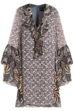 ANNA SUI Printed fil coupé silk mini dress