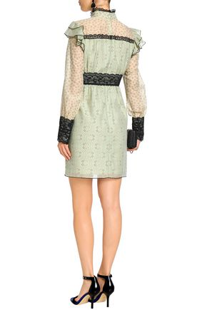 ANNA SUI Lace-trimmed printed cotton and silk-blend mini dress