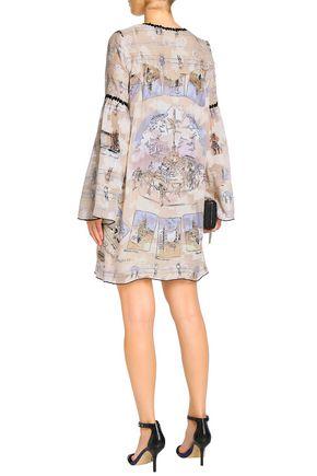 ANNA SUI Lace-up printed silk-blend fil coupé mini dress