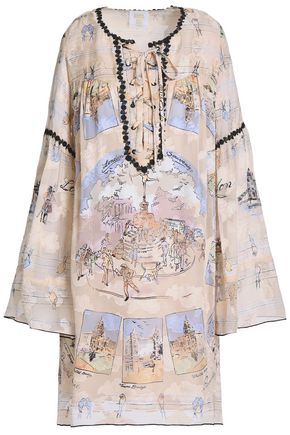 ANNA SUI Lace-up printed silk-blend fil coupé mini dress