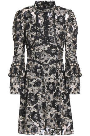 ANNA SUI Appliquéd floral-print fil coupé  silk-blend mini dress