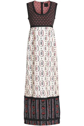 ANNA SUI Velvet-trimmed cotton-blend jacquard maxi dress
