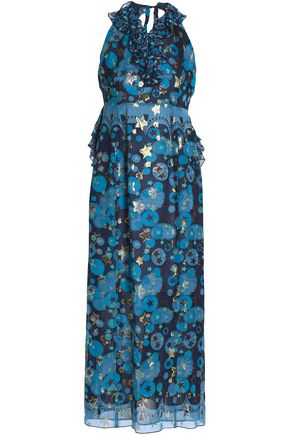 ANNA SUI Metallic printed silk-blend fil coupé halterneck gown