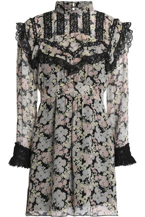 ANNA SUI Lace-trimmed floral-print silk-georgette mini dress