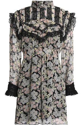 857c8dbbe12 Lace-trimmed floral-print silk-georgette mini dress | ANNA SUI ...