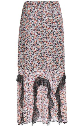 ANNA SUI Lace-trimmed floral-print silk-georgette maxi dress