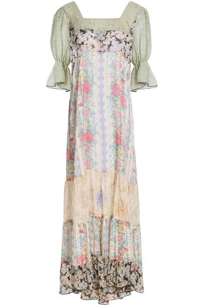 ANNA SUI Paneled floral-print crepe de chine and georgette maxi dress